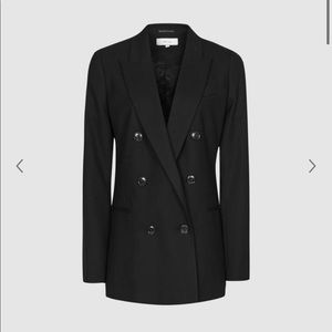 NWT Reiss Double breasted textured black blazer